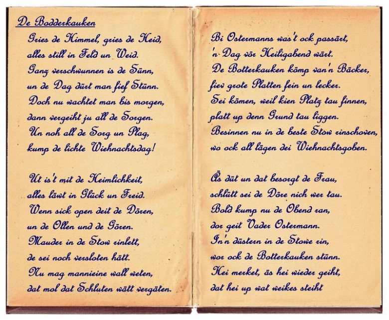 Frohe Weihnachten Plattdeutsch.Butterkuchen Gedicht Am Tag Vor Dem Heiligen Abend Puzzle