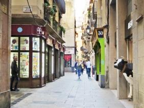 2015-04-11 Barcelona IMG_2212 Barri Gòtic - Carrer de la Boqueria 10h38 mit Kuh