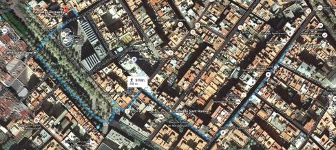 GoogleSatellitenkarte für 2015-04-11 Palau Güell - Appartment