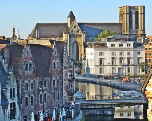 2015-08-22 2_Gent_2 Morgens De Waterzooi (5) Sint-Michielskerk+Grasbrug