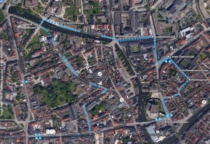 GoogleMaps Gent Patershol+Prinsenhof-Fussstrecke 22082015