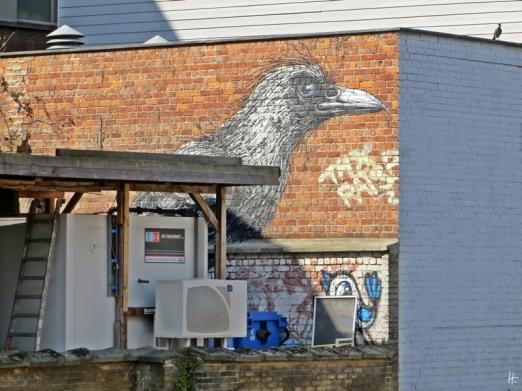 2015-08-23 3_Gent_7 Walpoortbrug (3) 3Vögel (2 Graffiti+1Taube)