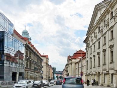 2017-07-14 Prag_1 aus dem Auto (11) Resslova - Kirche St. Cyrill und Method