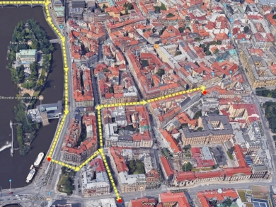 GoogleMapsSat Most Legií bis Myslikova-Odboru (rot)