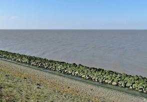 2019-04-09 NL Abschlussdeich des IJsselmeeres (1) Steine + Nordsee + Himmel