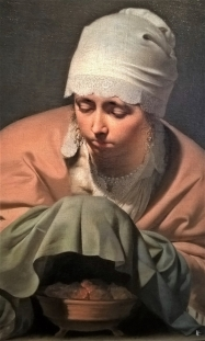 2019-04-11 NL Amsterdam Rijksmuseum Säle (28) Bildausschnitt Caesar Boëtius van Everdingen 1646 Winterallegorie 'Junge Frau, die Hände wärmend'